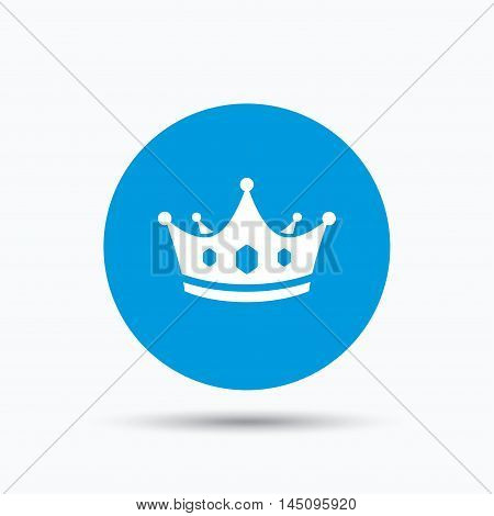 Crown icon. Royal throne leader symbol. Blue circle button with flat web icon. Vector