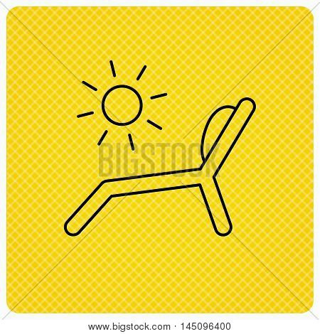 Deck chair icon. Beach chaise longue sign. Linear icon on orange background. Vector