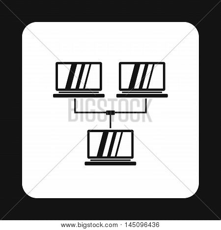 LAN icon in simple style isolated on white background. Internet symbol