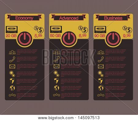 Pricing table in tariff design style for websites cloud storage. Vintage style. Vector image.