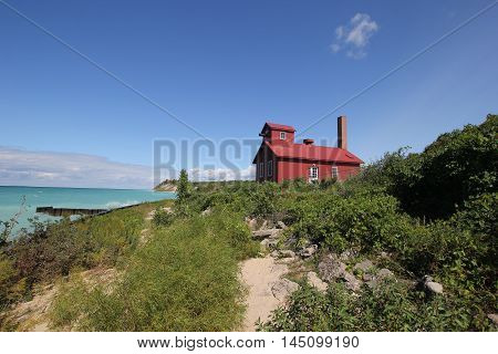 A fog horn house at Point Betsie Light on Lake Michigan