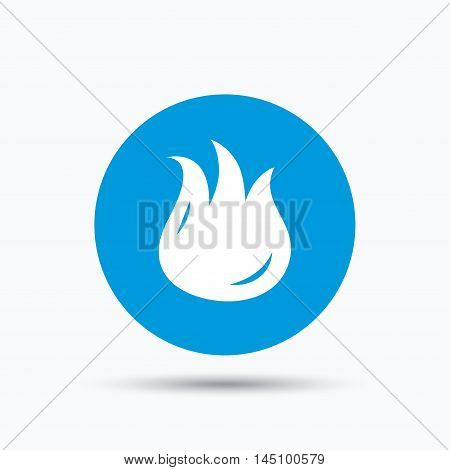 Fire icon. Blazing bonfire flame symbol. Blue circle button with flat web icon. Vector