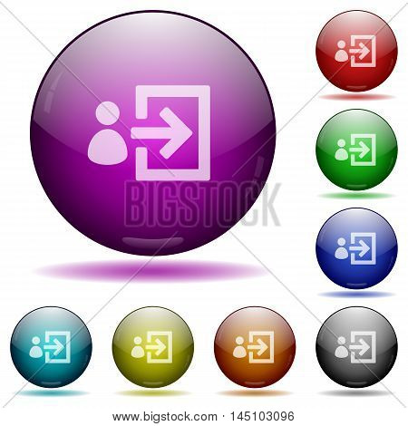 Set of color user login glass sphere buttons with shadows.