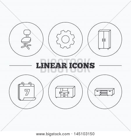 Cupboard, TV table and office chair icons. Chest of drawers linear sign. Flat cogwheel and calendar symbols. Linear icons in circle buttons. Vector