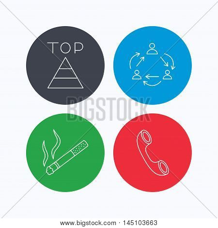 Teamwork, smoking and phone call icons. Top linear sign. Linear icons on colored buttons. Flat web symbols. Vector