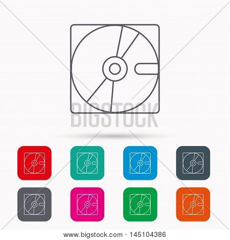 Harddisk icon. Hard drive storage sign. Linear icons in squares on white background. Flat web symbols. Vector
