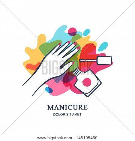 Female Hand On Color Nail Polish Splash Background. Vector Logo, Label, Emblem Design Elements.