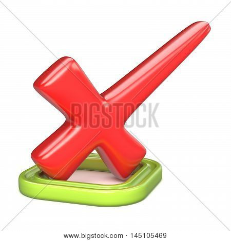 Red incorrect check mark in green square. 3D render illustration isolated on white background