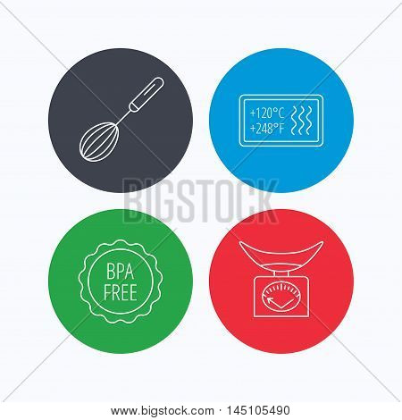 Kitchen scales, whisk and heat-resistant icons. BPA free linear sign. Linear icons on colored buttons. Flat web symbols. Vector