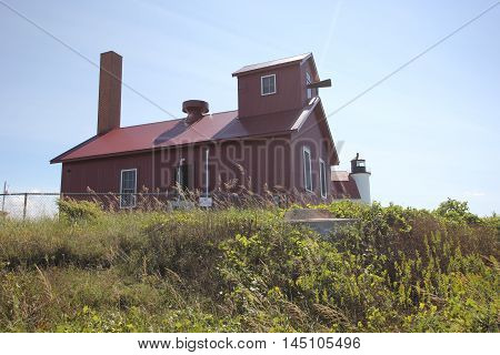 A fog horn at Point Betsie Light in Michigan