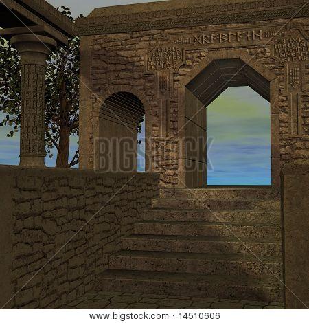 fantasy temple at dawn