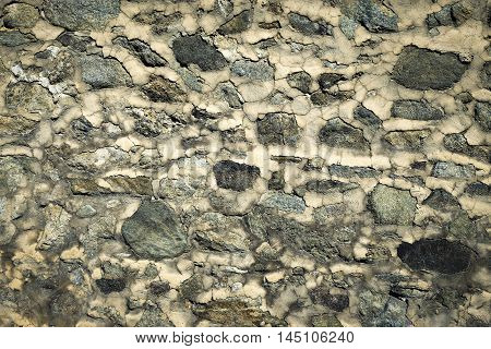 abstract background or texture old dingy and dirty wall of rocks
