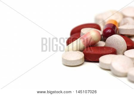 Expired medicine / Medical pills and tablets isolated on white background