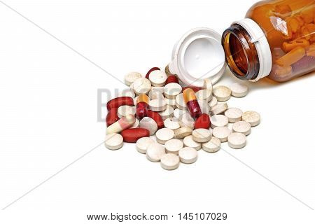 Expired medicine isolated on white background / Medical pill and tablets
