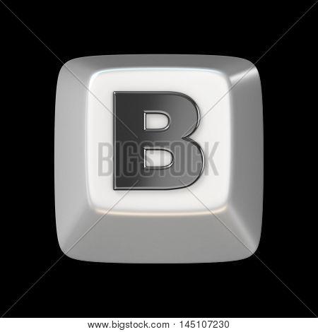 Computer Keyboard Key Font. Letter B 3D