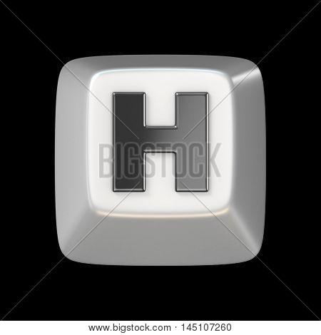 Computer Keyboard Key Font. Letter H 3D
