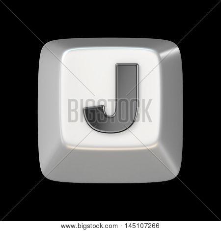 Computer Keyboard Key Font. Letter J 3D