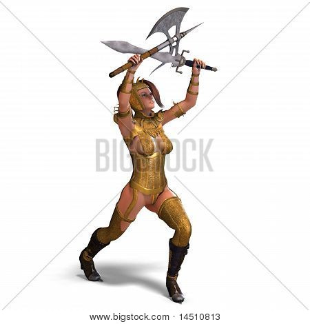 attractive female knight act as a guard