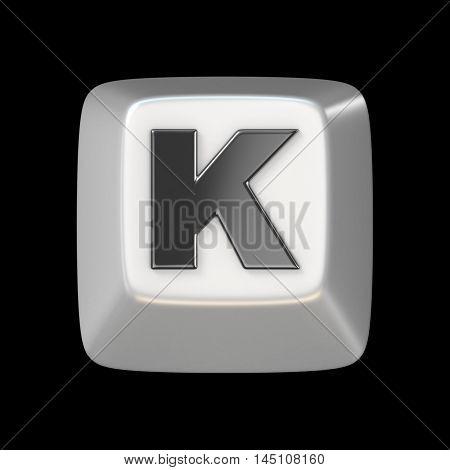 Computer Keyboard Key Font. Letter K 3D