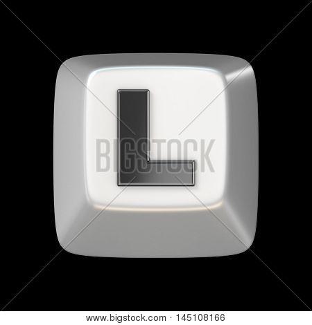 Computer Keyboard Key Font. Letter L 3D