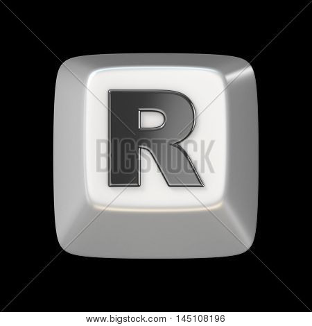 Computer Keyboard Key Font. Letter R 3D