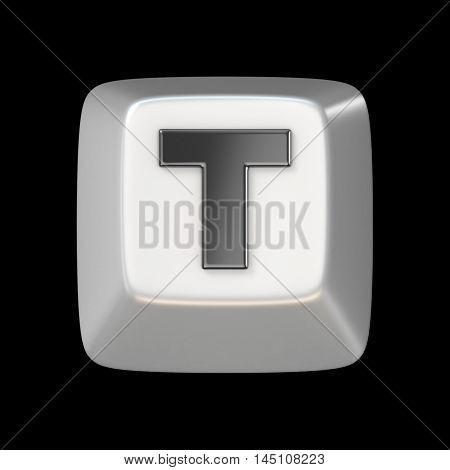 Computer Keyboard Key Font. Letter T 3D