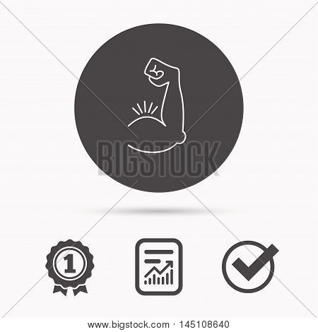 Biceps muscle icon. Bodybuilder strong arm sign. Weightlifting fitness symbol. Report document, winner award and tick. Round circle button with icon. Vector