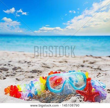 diving mask and red sea star on a tropical beach