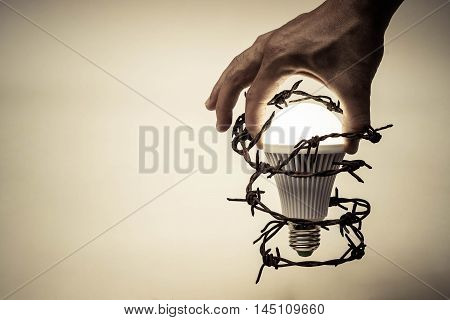 Hand trying to catch a turned on LED light bulb with barbed wire / Something stops new idea / Freedom of thought and idea expression