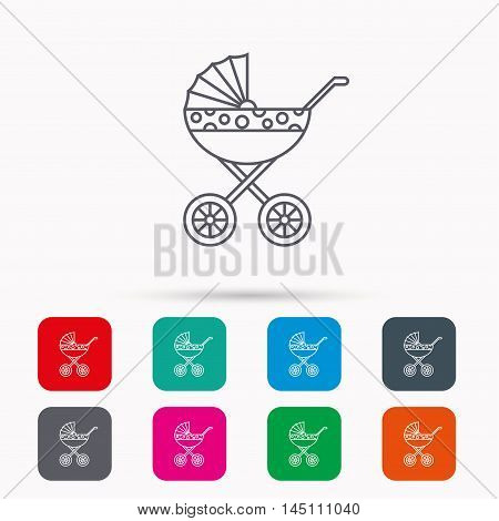 Pram icon. Newborn stroller sign. Child buggy transportation symbol. Linear icons in squares on white background. Flat web symbols. Vector