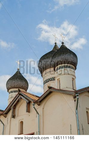 Church of St Theodore Stratilates on the Shirkov street Veliky Novgorod Russia - closeup view of church domes. Architecture closeup view.