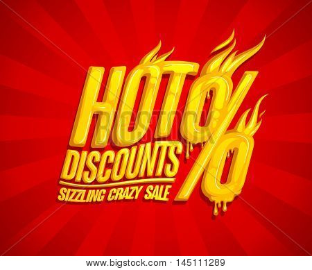Hot discounts sale design, sizzling crazy sale, honey text style, bright red backdrop