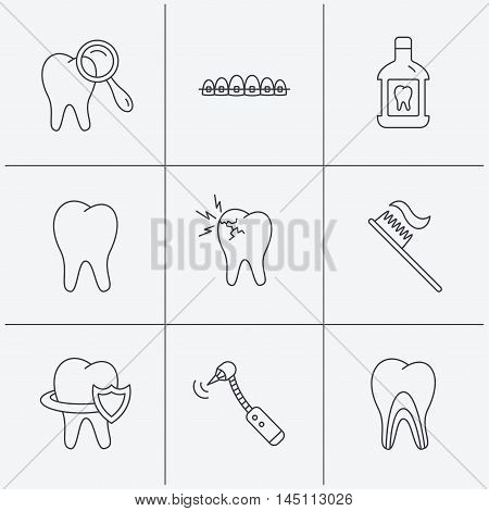 Tooth, dental braces and mouthwash icons. Diagnostics, toothbrush and toothache linear signs. Dentinal tubules, protection flat line icons. Linear icons on white background. Vector
