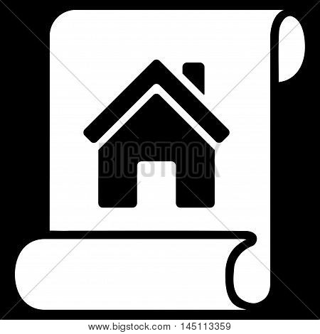 Realty Description Roll icon. Vector style is flat iconic symbol, white color, black background.