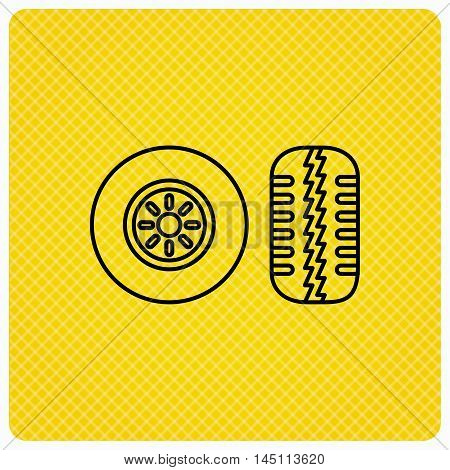 Tire tread icon. Car wheel sign. Linear icon on orange background. Vector