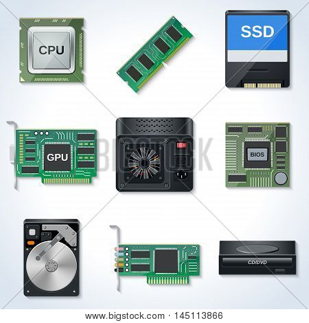 Computer hardware components realistic vector icons collection