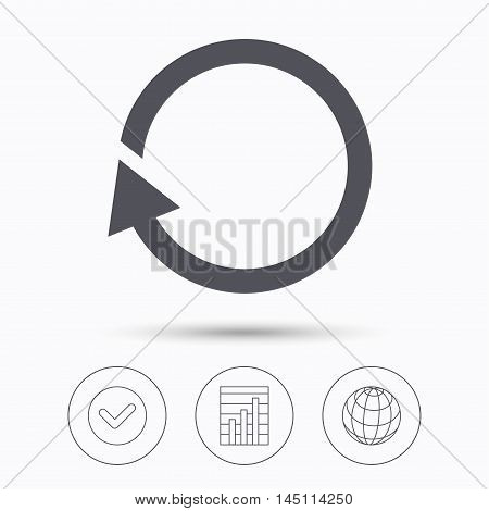 Update icon. Refresh or repeat symbol. Check tick, graph chart and internet globe. Linear icons on white background. Vector