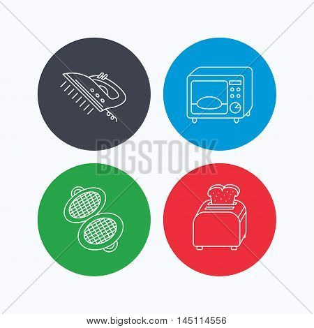 Microwave oven, waffle-iron and toaster icons. Steam ironing linear sign. Linear icons on colored buttons. Flat web symbols. Vector
