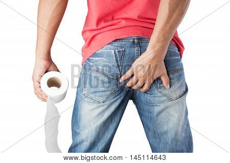 Man suffers from diarrhea holds toilet paper roll