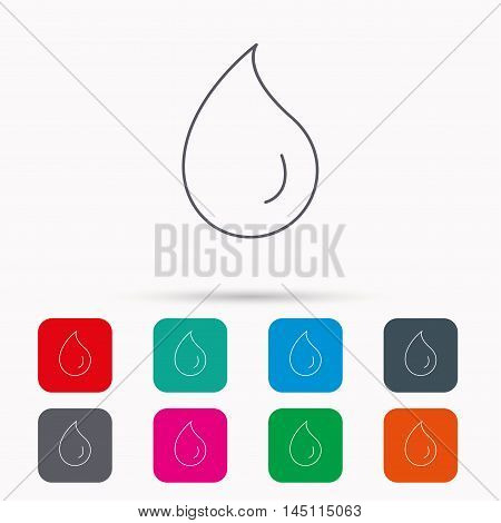 Water drop icon. Liquid sign. Freshness, condensation or washing symbol. Linear icons in squares on white background. Flat web symbols. Vector