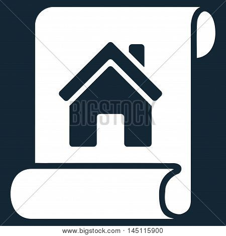 Realty Description Roll icon. Vector style is flat iconic symbol, white color, dark blue background.