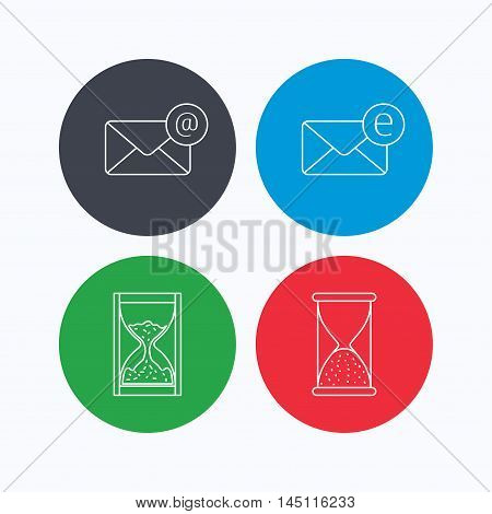 Mail, e-mail and hourglass icons. E-mail inbox linear sign. Linear icons on colored buttons. Flat web symbols. Vector