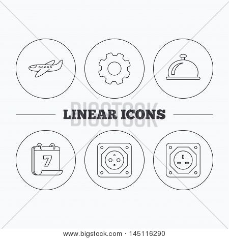 Air-plane, european socket and reception bell icons. UK socket linear sign. Flat cogwheel and calendar symbols. Linear icons in circle buttons. Vector
