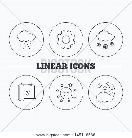 Weather, night and rain icons. Moon night and snow linear signs. Flat cogwheel and calendar symbols. Linear icons in circle buttons. Vector
