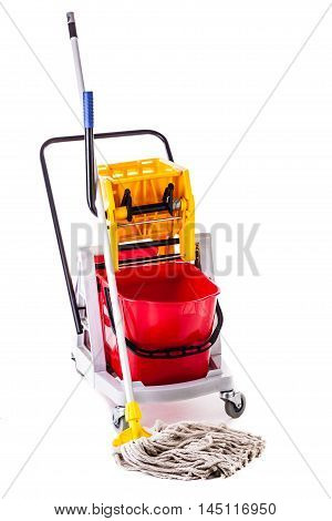 Professional Mop Bucket Over White