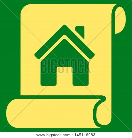 Realty Description Roll icon. Vector style is flat iconic symbol, yellow color, green background.