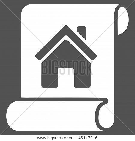 Realty Description Roll icon. Vector style is flat iconic symbol, white color, gray background.