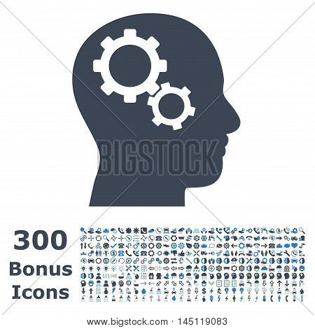 Brain Gears icon with 300 bonus icons. Glyph illustration style is flat iconic bicolor symbols, smooth blue colors, white background.