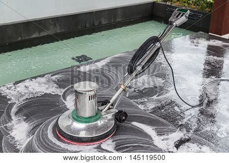 Exterior Stone Floor Cleaning With Polishing Machine And Chemical