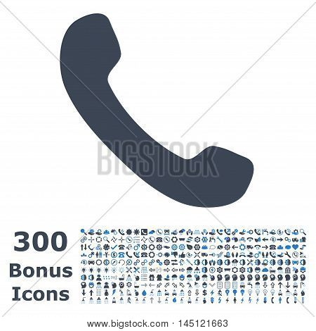 Phone Receiver icon with 300 bonus icons. Glyph illustration style is flat iconic bicolor symbols, smooth blue colors, white background.